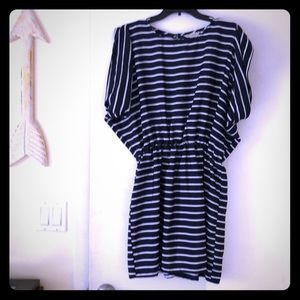 Navy and white stripes dress.